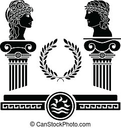 greek columns and human heads