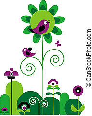 green and purple abstract flowers with swirls with butterfly and birds