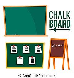 Green Chalk Board Vector. School Blackboard. Isolated Cartoon Illustration