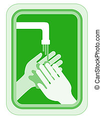 Creative design of green clean hands
