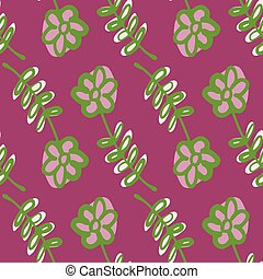 Green contoured flowers seamless doodle pattern. Pink bright background. Flat artwork.