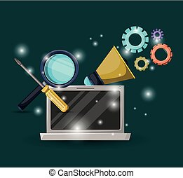 green dark background with brightness of laptop device and gears mechanism with magnifying glass and screwdriver tool