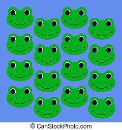 Green design kids smiling frogs