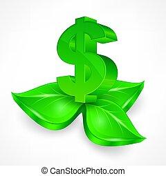 Green Dollar Symbol. Vector illustration.