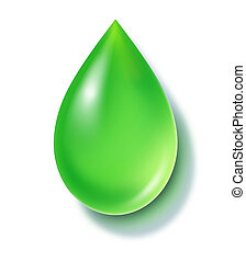 Green liquid drop symbol representing reusable energy and alternative fuels.