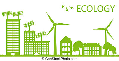 Green Eco city ecology vector background concept around globe