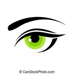 Beautiful green woman eye. Vector illustration