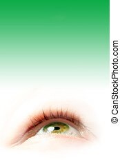 green eye illustration on gradient green background