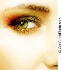 green eye of a woman