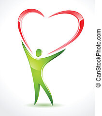 green figure holding a red heart