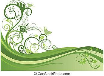 Green floral border design 1