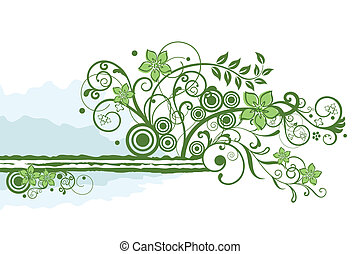 Green floral border element