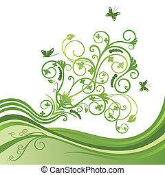 Green elegant flower and butterfly border. This image is a vector illustration