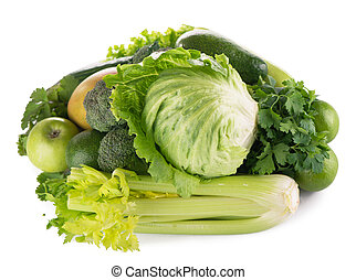 green fruits and vegetables on white background .