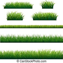 Green Grass And Leaves Big Set