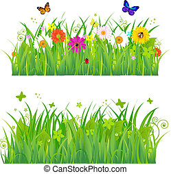Green Grass With Flowers And Insects, Isolated On White Background, Vector Illustration