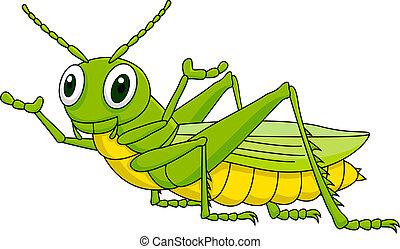 Vector illustration of green grasshopper cartoon