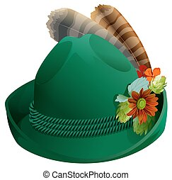 Green hat with feathers for Oktoberfest. Isolated on white vector illustration
