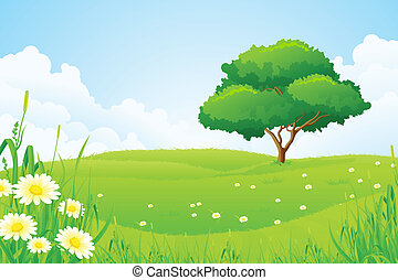 Green Landscape with Tree Clouds and Flowers