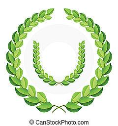 Detailed vector illustration of a green laurel wreaths