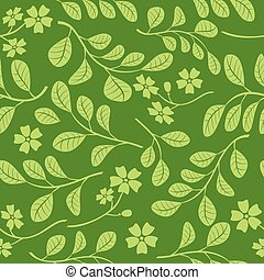 green leaves with flowers on dark green background - seamless pattern