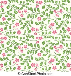 green leaves with red flowers on white background - seamless pattern