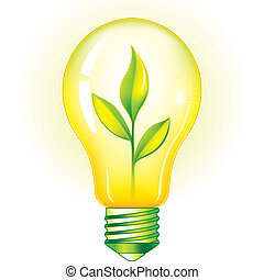Green Light Bulb With Green Leaves, editable vector illustration