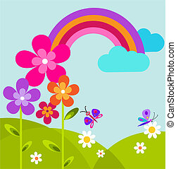 green meadow with butterfly, rainbow and flowers