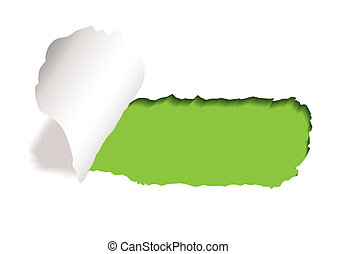 green background with paper tear and curl of torn edge