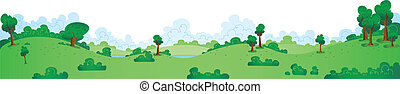 A wide cartoon panorama of a green, spring park.