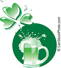 Vector illustration of a glass of green beer spraying with clover form spatter