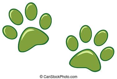 Green Paw Prints Cartoon Character