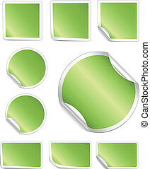 Blank, realistic vector stickers with peeling corners. Each element can be edited easily.