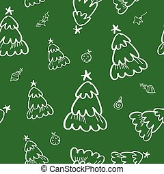 Green pine seamless pattern in doodle style.