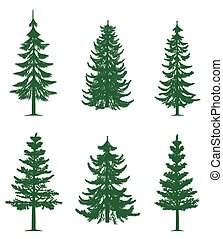 Green pine trees collection