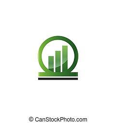 Green rising bar in a circle logo template