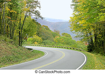summer day on the road in the Great Smoky Mountains National Park near the Tennessee border