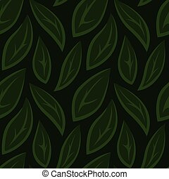Green seamless floral pattern with stylized leaves