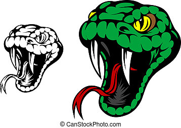 Head of danger aggressive snake for mascot design