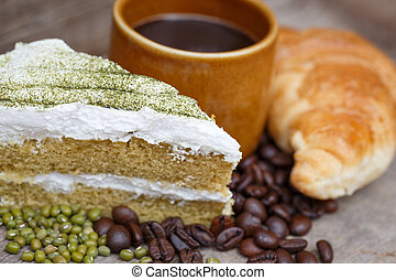 Green tea cake and coffee