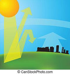 greenhouse effect (vector illustration). Global warming.