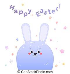 Greeting card for Easter. Cute Kawaii Hare Rabbit. Vector