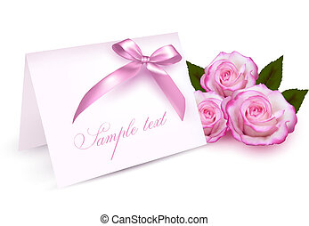 Greeting card with beauty roses and pink bow. Vector illustration.