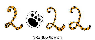 Greeting card with tiger paw. Happy new year 2022. Chinese zodiac. Symbol of 2022.