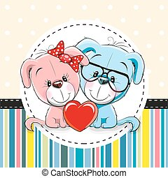 Two cute Cartoon Dogs