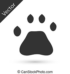 Grey Bear paw footprint icon isolated on white background. Vector
