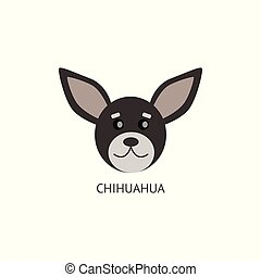 Grey Chihuahua head drawing isolated on white background