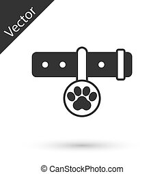 Grey Collar with name tag icon isolated on white background. Supplies for domestic animal. Dog or cat paw print. Cat and dog care. Pet chains. Vector