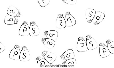 Grey Salt and pepper icon isolated seamless pattern on white background. Cooking spices. Vector Illustration
