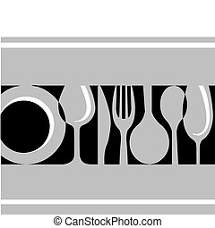 fork, knife , plate and glass , template design